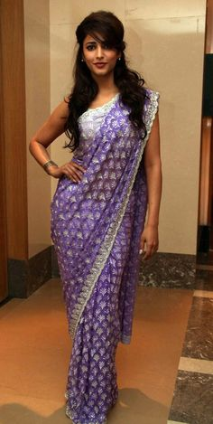 Sruthi Hassan in purple saree with silver thread work