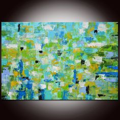 Large Abstract Blue Green Expressionist Painting by Andrada, $575.00