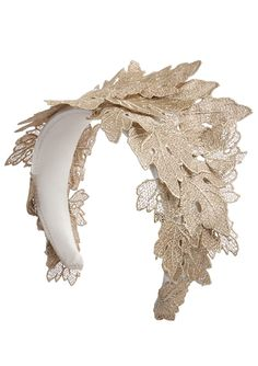 A unique rose gold headpiece with hand-cut metallic lace. Very much a statement headpiece for bridal wear, evening wear or any special occasion Gold Leaf Headband, Gold Headpiece, Fascinator Headband, Headpiece Wedding, Mermaid Headpiece, Headdress, Head Accessories, Bridal Accessories, Mode Turban