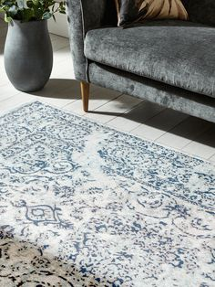 Talbot Rug - Blue and white - white painted floorboards 0 grey sofa Grey Floorboards, Painted Floorboards, Living Room Modern, Rugs In Living Room, Dining Rooms, Medium Rugs, Dining Room Inspiration, Living Room Remodel, Shabby Chic Furniture