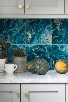 Wall Vinyl Tile Stickers Pack Of 12 For Kitchen Bathroom Or Etsy In 2020 Vinyl Tile Kitchen Marble Vinyl Wall