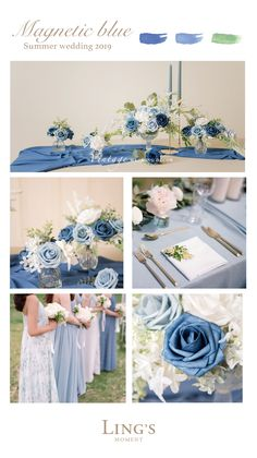 Blue Wedding Table Decorations A wedding palette inspired by sea glass. One of my favorite details from this summer soirée is the napkins in various blue hues. Something Blue Wedding Inspiration for Jenny Buckland Hair and Make up. Blue Wedding Decorations, Wedding Centerpieces, Wedding Themes, Blue Orchid Centerpieces, Tall Centerpiece, Table Decorations, Summer Wedding Colors, Spring Wedding, Dream Wedding