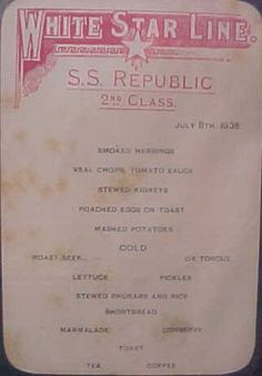 White Star Line S.S. Republic second class menu.