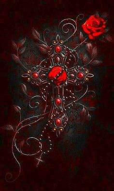 Flowers Wallpaper, Cross Wallpaper, Gothic Wallpaper, Butterfly Wallpaper, Wallpaper Backgrounds, Iphone Wallpaper, Beautiful Dark Art, Beautiful Rose Flowers, Fantasy Kunst
