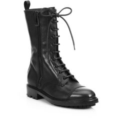 Belstaff Lace-Up Leather Combat Boots ($380) ❤ liked on Polyvore featuring shoes, boots, ankle booties, apparel & accessories, black, black combat boots, black lace up ankle booties, leather lace up boots, black lace up boots and leather boots