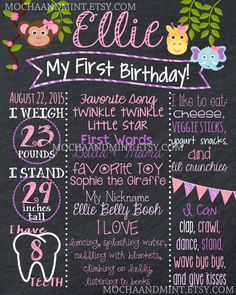 First Birthday Chalkboard Sign Jungle Animal by MochaAndMint