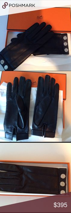 Hermes gloves Gorgeous Hermes lambskin black gloves. Worn once and in fantastic condition. Classy, elegant Hermes. Hermes Accessories Gloves & Mittens