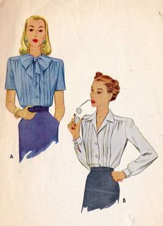 1940's pleated women's blouses