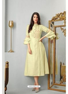 Flaunt Your Rich And Elegant Taste Wearing This Designer Readymade Kurti In Cream Color Fabricated On Cotton Slub. It Is Beautified With Minimal Thread Work Giving It A Rich Subtle Look. Kurta Designs, Kurti Designs Party Wear, Blouse Designs, Lehenga Designs, Cotton Frocks, Party Kleidung, Embroidered Kurti, Indian Clothes Online, Bollywood Dress
