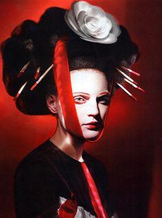 """UK Vogue June 2011 """"Neo Geisha"""" Model: Guinevere Van Seenus Styling: Lucinda Chambers Ph: Paolo Roversi"""