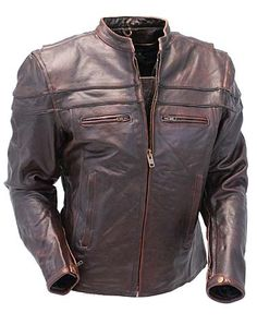 Antiqued Brown Leather Motorcycle Jacket - Scooter Style with Vents