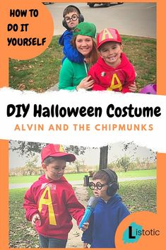 Total Cuteness! Group costume ideas for kids. #20 Alvin and the Chipmunks DIY Costume. Large shirts or hoodies for boys or girls to create characters of Alivin, Simon and Theodore. Get Dad involved to play the Character of Dave. Some halloween makeup for the buck teeth and some funny accessories for the perfect DIY Halloween Costume for boys, girls, kids or adults.  #cuteness #characters #alvinandthechipmunks #costume #diycostume #costumeidea #costumeideaforboys #costumeideaforkids #diy