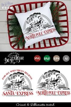 (AD) All aboard our Santa Express or the North Pole Express! These SVG and PNG files will take you to a magical place of wonderment this Christmas creating some truly remarkable projects! Christmas Train, Christmas Svg, North Pole Express, Santa Express, Polo Norte, Silhouette Machine, Cutting Files, Wood Signs, Crafty
