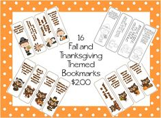 16 Fall and Thanksgiving Themed bookmarks...12 in color and 4 in black and white $2 on TpT
