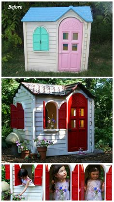 Who doesn't love a New Home Makeover, this Little Tikes Home Makeover is a winner! Little Tikes and Upcycle Ideas on Frugal Coupon Living - Recycle your kids toys and turn them into something fun and new! Playground Toys, Kids Backyard Playground, Backyard For Kids, Diy For Kids, Plastic Playground, Little Tykes Playhouse, Little Tikes House, Diy Playhouse, Little Tikes Picnic Table