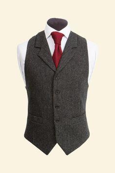 Charcoal Shetland Donegal Tweed Edward Waistcoat