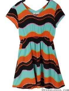Women V-Neck Short Sleeve Chiffon Multi-Colored Irregular Stripeed Dress S/M/L/XL@A4026