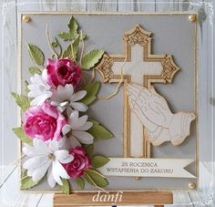 Creative Flower Arrangements, Christian Cards, Projects To Try, Arts And Crafts, Easter, Frame, Flowers, Handmade, Scrapbooking