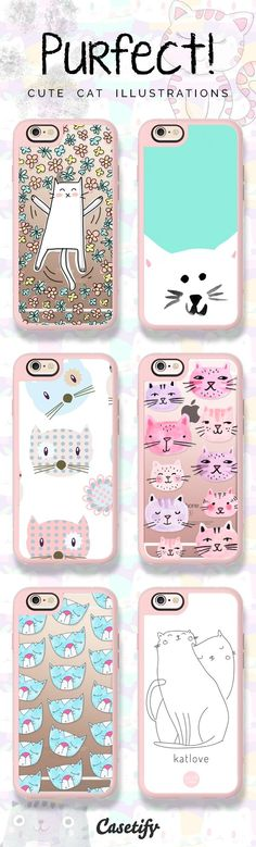 Meow! Click through to shop these cute cat illustrations iPhone 6 cases >>> https://www.casetify.com/artworks/E2pmxpYPig | @casetify