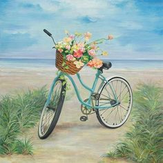 Add coastal style to any room with contemporary art by Streamline Art. This canvas wall art features a coastal beach cruiser with a flower basket and a serene beach scene painting. Includes brackets for hanging. Measures 36''L x 36''W.
