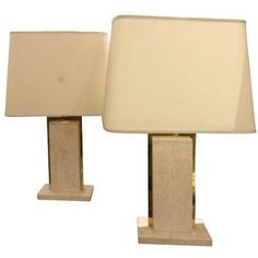 Modernist Table Lamps in Travertine and Brass