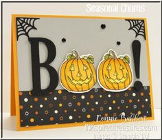 Seasonal Chums, Spooky Night dsp, Seasonal Tags Framelits, Large Letters Framelits - all from Stampin' Up! Halloween 4, Halloween Cards, Halloween Themes, Fall Cards, Holiday Cards, Team Theme, Thank You Cards From Kids, Thanksgiving Cards, Card Tutorials