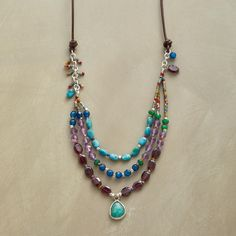 """COAST LINES NECKLACE--In this amazonite drop and gemstone necklace, turquoise, amethyst, garnet and teal-dyed jade tumble like waves as a faceted drop of amazonite, framed in sterling silver, washes ashore. Thai silver beads, with adjustable leather cord. Exclusive. Adjustable to 24""""L"""