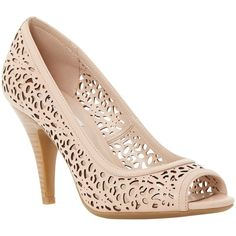 Dune Colette Leather Cut Out Court Shoes, Nude