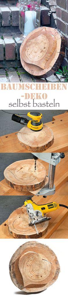 Herzen verschenken kann man auch in Holzform – wie diese Baumscheibe mit hervorstechendem Herzen. Wir zeigen, wie man das hübsche Deko-Objekt selbst baut.