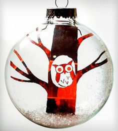 Glass Winter Owl Holiday Ornament | Turn a negative into a positive with this Winter Owl holiday o... | Holiday Ornaments