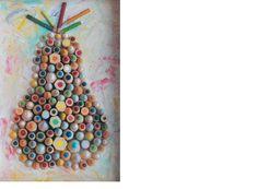 """""""Pear"""" 2008, tecnica mista legno e acrilico, 38,5x26,5"""