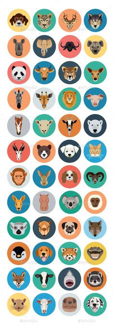 40 Animals Vector Icons by creativestall Find the best animal faces flat icons in this collection. These animal face flat icons can be used in a variety of ways. Animals Vector, Face Illustration, Illustration Animals, Animal Illustrations, Animal Masks For Kids, Avatar, Cow Face, Animal Symbolism, Animal Faces