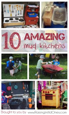 10 amazing mud kitchens - perfect for sensory play & messy play in the garden. Includes tips for making mud pies & how to make a mud pie recipe book.