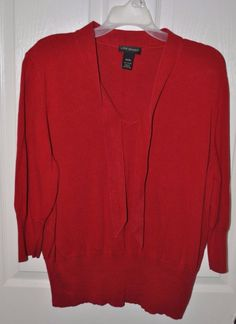 Lane Bryant Women's Red V-Neck Tie Sweater Bottom Ribbed Size 18/20 #LaneBryant #VNeck #Christmas
