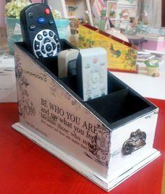 g Decor Crafts, Diy And Crafts, Tv Holder, Shabby, Decoupage Box, Handmade Art, Storage Organization, Crates, The Good Place