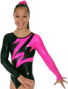 Flare Version A Gymnastics Competition Leotard~ This Flare gymnastics competition leotard is shown in three versions and three price points. The body of these leotards are all made from our shiny black mystique nylon lycra. Each version has different colored accents to make this gymnastics leotard pop on the floor. These competition leotards are adorned with genuine Swarovski crystals to make it really stand out. Version A Body - Black mystique and Rose cracked ice, Accents Black mystique.