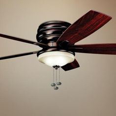 Windham Oil Rubbed Bronze Ceiling Fan - maybe kitchen replacement? Flush Mount Ceiling Fan, Bronze Ceiling Fan, Hugger Ceiling Fan, Overhead Lighting, Pull Chain, Living Room Remodel, Bronze Finish, Oil Rubbed Bronze, Light Up