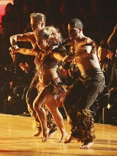 """Shawn Johnson and her """"trio"""" dance with Derek Hough and Mark Ballas.  Very cool!"""