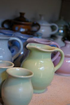 love the glazes on these pitchers