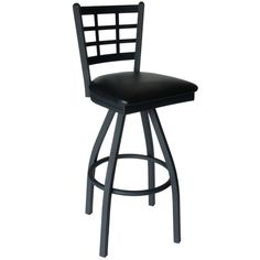 Marietta Metal Window Pane Back Restaurant Swivel Bar Stools with Padded Seat - These attractive commercial swivel bar stools feature a sturdy metal frame and a durable vinyl padded swivel seat. Each window pane back bar stool is available with a sand black finish and numerous vinyl padded seat color options to easily accommodate your restaurant decor.  [2163S-SBV]