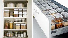Des placards de cuisine bien rangés en conservant les aliments dans des boîtes