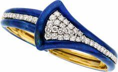 Estate Jewelry:Bracelets, Diamond, Enamel, Gold Bracelet The bracelet fe... Image #1