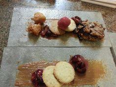 Fall Dessert: Apple Cherry Tasting-Lizner Cookie, Apple Cherry Sorbet, Cherry Sauce, Apple Fritters, Dulce De Leche, Apple Cherry Prune Crumble