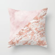 Rose gold and pinks marble throw pillow on Society6