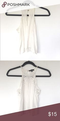 Kendall and Kylie embroidered goddess high neck Kendall and Kylie PAC Sun embroidered goddess high neck white tank, slightly cropped. Super soft and flowy! Kendall & Kylie Tops Crop Tops