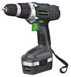 Genesis GCD18BK 18 Volt Cordless Variable Speed Drill/Driver Kit, Grey