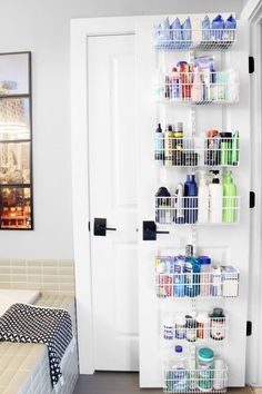 Maximize Your Storage Space With Over the Door Organizers 15 ways to organize with over the door organizers. Use adjustable baskets on the back of a closet door to organize your bathroom toiletries and extras. Wardrobe Organisation, Small Space Organization, Bathroom Organisation, Closet Organization, Storage Spaces, Organization Ideas, Storage Ideas, Food Storage, Laundry Room Storage