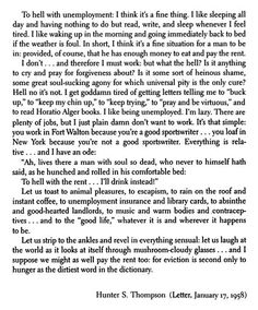 Hunter S Thompson On Unemployment Letter 1958 Manchester Frrole