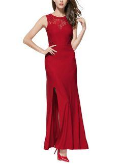 Miusol Women's Floral Lace Split Side Vintage Long Wedding Red Black Dress