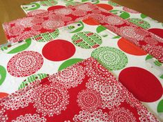 Polar Bear Christmas Placemats in Red and Green Kaufman Brrr Fabric - Set of 4